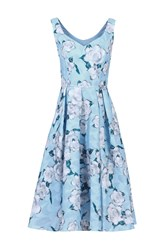 Jolie Moi Retro Floral Textured Prom Dress Blue