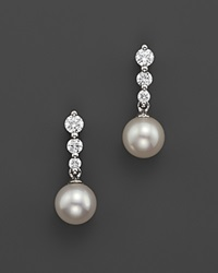 Bloomingdale's Cultured Freshwater Pearl And Diamond Earrings In 18K White Gold