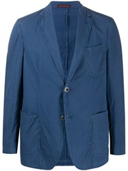 The Gigi V Neck Button Down Blazer Blue