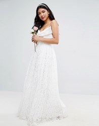 Asos Bridal Lace Bow Front Maxi Prom Dress White