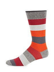 Saks Fifth Avenue Made In Italy Jaspe Tonal Striped Socks Red
