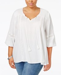 Styleandco. Style Co. Plus Size Shadow Striped Peasant Top Only At Macy's Winter White