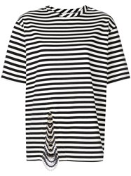Monse Embellished Striped T Shirt Black