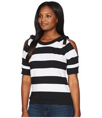 Lauren Ralph Lauren Striped French Terry Cold Shoulder Top Soft White Polo Black Clothing Multi