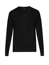 Lanvin Crew Neck Wool And Cotton Blend Sweater Black