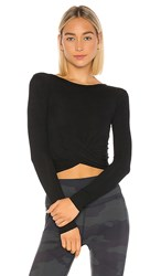 Alo Yoga Cover Long Sleeve Top In Black.