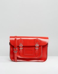 Leather Satchel Company 12.5 Inch In Patent Rosy Red Red
