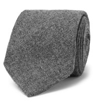 Drakes Drake's 8Cm Knitted Cashmere Tie Gray
