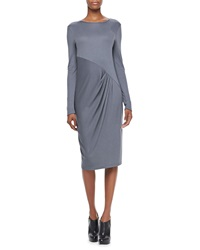 Donna Karan Long Sleeve Dress With Pleated Front Petite 0