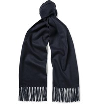 Johnstons Of Elgin Fringed Checked Cashmere Scarf Blue