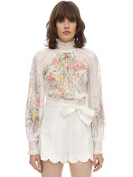 Zimmermann Printed Cotton Voile Shirt Ivory