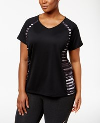 Ideology Plus Size Contrast Print Performance T Shirt Only At Macy's Noir Distressed