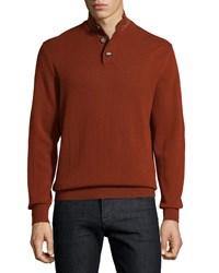 Luciano Barbera Cashmere Striped Trim Sweater Burnt Sienna