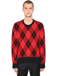 Ami Alexandre Mattiussi Argyle Jacquard Wool Blend Knit Sweater Red Black