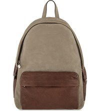 Brunello Cucinelli Contrast Suede Leather Backpack Taupe