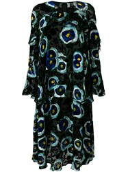 Talbot Runhof Velvet Floral Print Dress Black