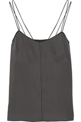 Rag And Bone Mesh Trimmed Striped Silk Tank Black