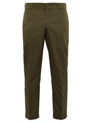 Prada Cropped Nylon Tailored Trousers Green