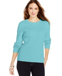 Karen Scott Cable Knit Crew Neck Sweater Angel Blue