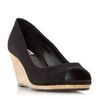 Dune Cadence Peep Toe Cork Wedge Court Shoe Black