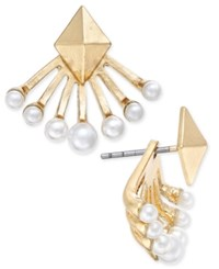 Inc International Concepts Gold Tone Imitation Pearl Earring Jackets Only At Macy's