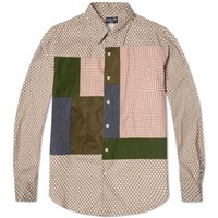 Rough And Tumble Polka Dot Panel Shirt Olive And Red