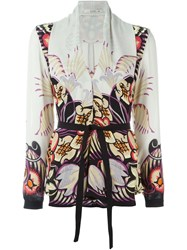 Etro Printed Shawl Collar Blouse Nude And Neutrals