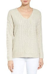 Rd Style Women's Back Cutout Cable Knit Sweater White Beach