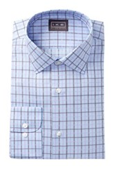 Ike Behar Oxford Plaid Full Fit Dress Shirt Purple