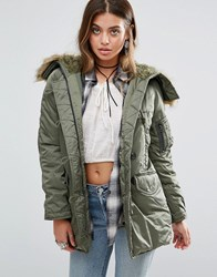 Denim And Supply Ralph Lauren By Down Feather Parka With Faux Fur Hood Green