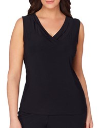Tahari By Arthur S. Levine Plus Solid V Neck Sleeveless Top Black