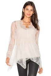 Haute Hippie Chiffon Pleats Lace Blouse Beige