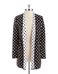 Nipon Boutique Open Front Polka Dot Sweater Black White