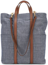 Mismo Denim Tote Bag Men Cotton Leather One Size Blue