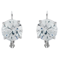 Cachet London Rhodium Plated Swarovski Crystal Leverback Drop Earrings Silver