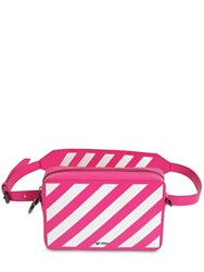 Off White Stripe Printed Leather Belt Bag Fuchsia