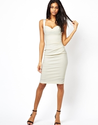 Hybrid Pencil Dress With Gathered Waist And Sweetheart Neck Cream