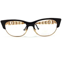 Christian Lacroix Vintage Cat Eyes Black And Gold Art Clubmaster Glasses