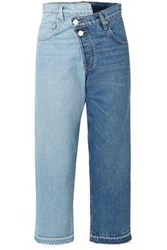 Monse Woman Cropped Two Tone Mid Rise Straight Leg Jeans Mid Denim