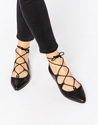 Warehouse Pointed Ghillie Lace Up Flat Shoes Black