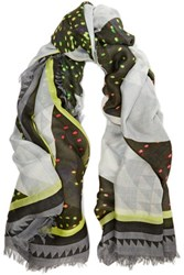 Proenza Schouler Printed Modal And Silk Blend Scarf Gray