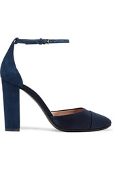 Tory Burch Rousseau Suede And Satin Pumps Navy