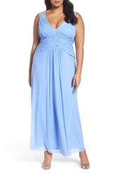 Marina Plus Size Women's Beaded V Neck Pleat Mesh Gown Periwinkle