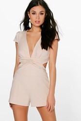 Boohoo Cerys Twist Front Cut Out Back Playsuit Stone