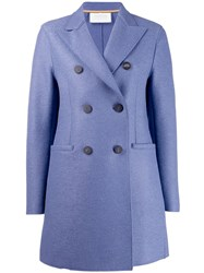 Harris Wharf London Classic Double Breasted Coat Blue