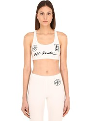 Off White Printed Sports Bra White