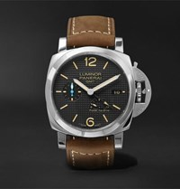Officine Panerai Luminor 1950 3 Days Acciaio 42Mm Stainless Steel And Leather Watch Black