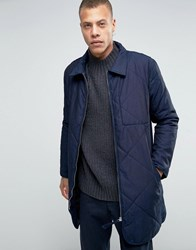 Weekday Line Quilted Longline Jacket Navy Navy 76 101