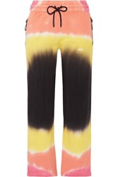 Off White Printed Tie Dyed French Cotton Terry Track Pants Yellow