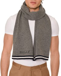 Bally Contrast Trim Wool Scarf With Logo Gray
